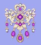 Gold brooch with  precious stones. Filigree victori. Illustration gold brooch with  precious stones. Filigree victorian jewellery Royalty Free Stock Photo