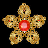 Gold brooch Royalty Free Stock Photography