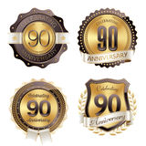 Gold and Brown Anniversary Badges 90th Years Celebration. Vector stock illustration