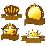 Gold and brown badges Stock Image