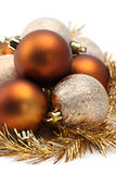 Gold and brown Christmas ornaments Royalty Free Stock Photos