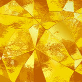 Abstract gold polygonal brushed background of metal foil Stock Photos