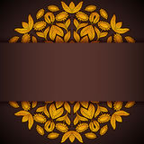 Gold and brown round sunflowers invitation Royalty Free Stock Photos