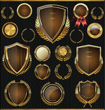 Gold and brown shields, laurels and medals collection Stock Images