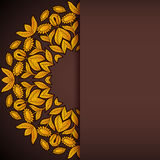 Gold and brown sunflowers round invitation Royalty Free Stock Photos