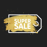 Gold brush tag abstract background  illustration. Super sale concept. End of season Stock Photography