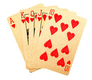 Gold Brushed Playing Cards Royalty Free Stock Image