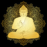 Gold Bubbha Sitting in Lotus position. Gold Buddha sitting in lotus position on floral round background. Sign for textile print, mascots and amulets Royalty Free Stock Photography