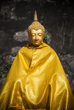 Gold buddah thailand. Eye closed Gold buddah north thailand royalty free stock photography