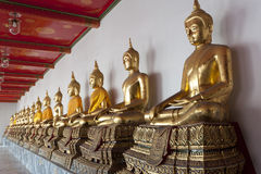 Gold Buddha. Rows of golden Buddha figures in a Bangkok Temple Thailand Royalty Free Stock Photos
