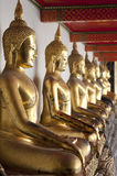 Gold Buddha. Rows of golden Buddha figures in a Bangkok Temple Thailand Stock Photos