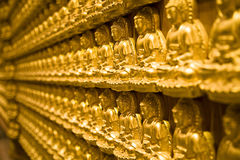 Gold buddha. Temple wall of chiness buddha religious in bangkok Royalty Free Stock Photo
