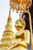 Gold Buddha and gold stupa. Wat Phra Chae Haeng ,Nan Thailand Royalty Free Stock Image