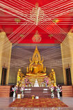 Gold buddha image with holy thread in Wat Phai Lom Royalty Free Stock Photos
