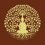 Gold Buddha meditieren unter Bodhi-Baumkreiszeichenart-Vektordesign lizenzfreie abbildung