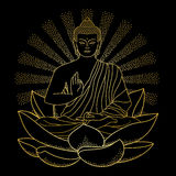 Gold Buddha sitting on Lotus with beam of light. Sitting outline Gold Buddha on Lotus with beam of light isolated on black background. Sign for tattoo, textile Royalty Free Stock Images