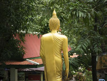 Gold Buddha Stand Statue With Nature. Stock Photography