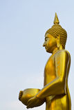 The gold buddha statue. Is on the sky background Royalty Free Stock Photography