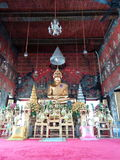 The gold Buddha statue in the church at the Golden Mount in Bangkok Royalty Free Stock Images