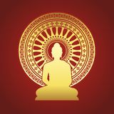 Gold Buddha statue and Dharmachakra wheel of dhamma sign on red brown background vector design Stock Images