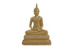 Gold-Buddha-Statue lokalisiert auf weißem Hintergrund Stockfoto