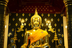 Gold buddha. Statue, Phisanulok in Thailand Royalty Free Stock Photos