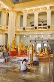 Gold buddha statue. In public temple thailand (Wat Sothon Taram Worawihan stock photography