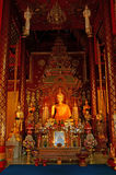 Gold Buddha statue 2. This is a Gold Buddha statue in Wat Chiang Man temple at thailand. Generality in Thailand, any kind of art decorated in Buddhist Church royalty free stock photos