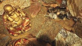 Gold-Buddha-Steinhintergrund niemand hd Gesamtlänge stock footage