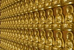 Gold Buddha temple wall Royalty Free Stock Image