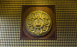 Gold Buddha on the wall Royalty Free Stock Image