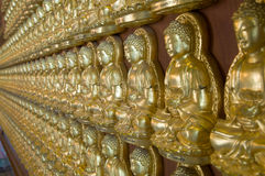 Gold Buddha wall , chinese temple ,thailand Stock Photo