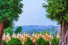 Gold buddhist statues with nature Royalty Free Stock Photo