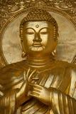 Gold Budha. Close up of gold Budha statue in Peace Pagoda, Battersea Park, Wandsworth, London, UK Royalty Free Stock Photo