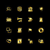 Gold building icons Royalty Free Stock Images