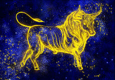 Gold bull. 2009. Bull. Constellation. Oriental symbol. Horoscope. Greeting card, illustration royalty free illustration