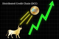 Gold bull, throwing up Distributed Credit Chain DCC cryptocurrency golden coin up the trend. Bullish chart stock illustration