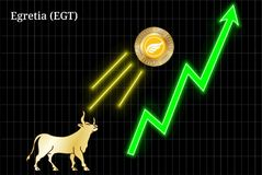 Gold bull, throwing up Egretia EGT cryptocurrency golden coin up the trend. Bullish chart royalty free illustration