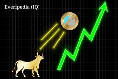 Gold bull, throwing up Everipedia IQ cryptocurrency golden coin up the trend. Bullish chart vector illustration