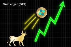 Gold bull, throwing up OneLedger OLT cryptocurrency golden coin up the trend. Bullish chart stock illustration