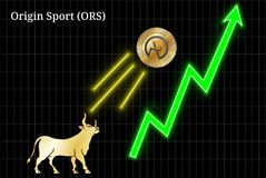 Gold bull, throwing up Origin Sport ORS cryptocurrency golden coin up the trend. Bullish chart vector illustration