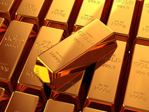 Gold Bullion. Bars stacked on top of each other Stock Image