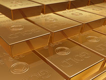 Gold bullion. Illustration of a stack of gold bar reserves Stock Photo