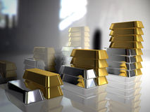 Gold bullion. Gold and silver ingots Royalty Free Stock Photography