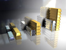 Gold bullion. Gold and silver ingots Royalty Free Stock Photos
