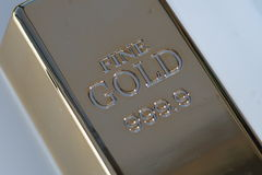 Gold bullion bar Stock Photos
