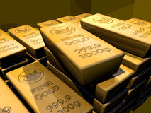 GOLD RETIREMENT FUND WEALTH MANAGEMENT FINANCIAL PLANNING GOLD. Close-up of gold bullion bars stacked in a dark vault illustrating wealth management and Stock Images