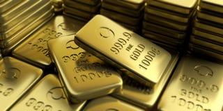 Gold bullion bars background. 3d illustration Stock Images