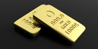 Gold bullion bars on black background. 3d illustration. Gold bullion bars  on black background. 3d illustration Royalty Free Stock Photo