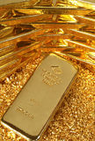 Gold bullion bars stacked Stock Photo
